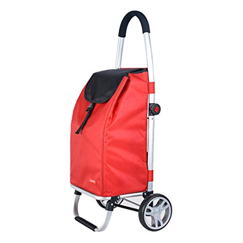 WEIZI Portable Collapsible Shopping Cart Home Red Pull Cart Aluminum Alloy Rod Truck 99 * 45 * 33cm