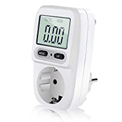 Zaeel Appareil de mesure de l'énergie Jauge de puissance, appareil de mesure des coûts d'énergie avec écran LCD, contrôle de surcharge, puissance maximale 3680W
