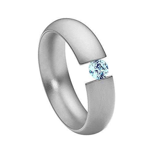 Heideman Ring Damen Intensio aus Edelstahl Silber farbend matt Damenring für Frauen mit Swarovski Stein Zirkonia blau im Brillant Schliff 4mm