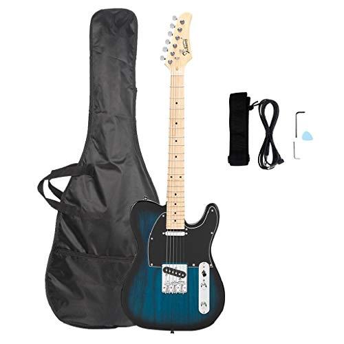 GTL Ahorn-Griffbrett für E-Gitarre, Dunkelblau, Taschengurt, Plektrum, Verbindungsdraht, Schraubenschlüssel