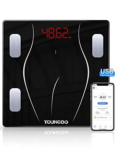 YOUNGDO Bilancia Pesapersona Digitale 30 * 30, Bilancia Impedenziometrica Carica USB con 23 Dati (BMI/BFR/Acqua/Muscolo/BMR ECC), Bilancia Pesapersone Bluetooth per 999 utenti