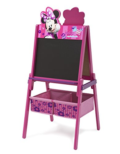 Delta Children Wooden Double-Sided Kids Easel with Storage -Ideal for Arts & Crafts, Drawing, Homeschooling and More, Disney Minnie Mouse