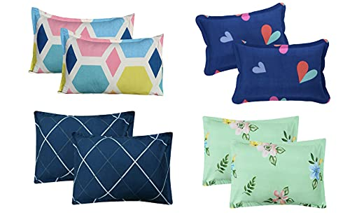 Furnistitchs Supersoft Microfiber Printed Pillow Covers Set of 8 ,18″ x 28″ inches Combo 3