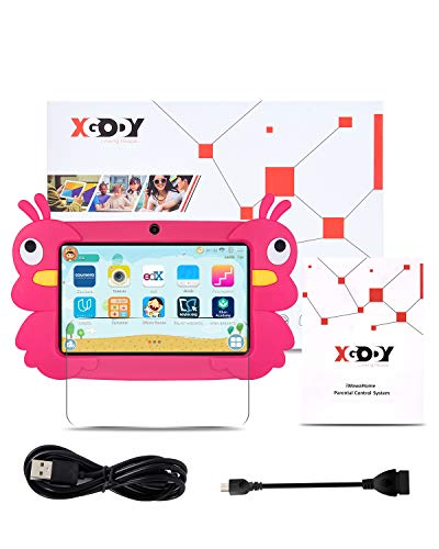 Xgody T702Pro Kids Tablets, 7 Inch Android Kids Tablets, 2GB RAM 16GB ROM, Android 9.0 GMS, Touch Screen with WiFi Pre-Loaded 3D Game Dual Camera, Pink