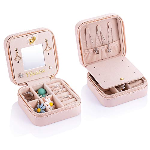 Yiluana Portable Jewelry Case Travel Earring Ring Necklace Accesories Organizer Box with Zipper (Bike)