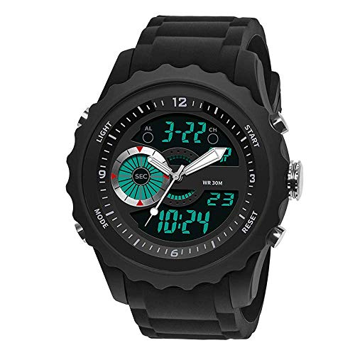 AZPINGPAN Reloj Deportivo Digital de Moda, Reloj electrónico de Silicona de Ocio al Aire Libre Impermeable de 30 m, cronógrafo Multifuncional Luminoso de Doble Pantalla