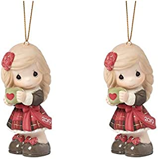 Precious Moments Set of Two, Dated 2019 Girl Ornament Bundle, Multi