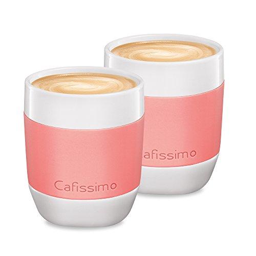 Tchibo Cafissimo Becher oder Tassen aus Porzellan mit Silikonmanschette, 2er Set (XL Becher, Koralle)