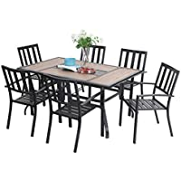 Sophia & William 7-Piece Patio Dining Set with 6 Steel Garden Chairs and 1 Patio Umbrella Rectangle Table
