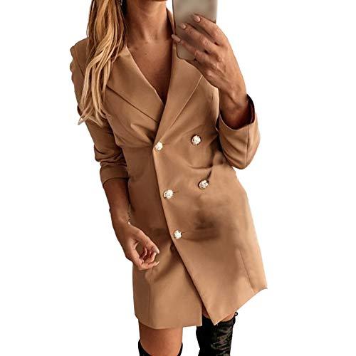 Manooby Damen Blazer Kleid Frauen Elegant Langarm V-Ausschnitt Zweireihig Solide Hemdkleid Bürokleid Slim Fit Knopf Anzug Mantelkleid