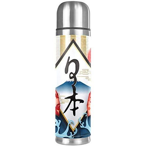 AEMAPE Termo japonés con Ventilador y Olas, Taza de café de Doble Pared, Taza para Beber al vacío, Botella de Agua aislada, Taza de Viaje, 17 oz
