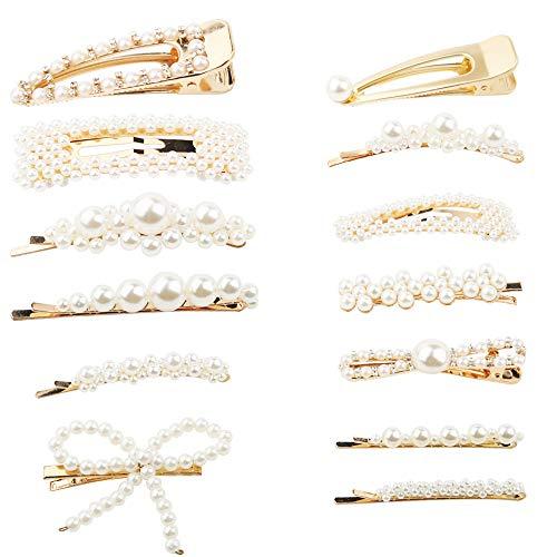 mreechan Mollette per Capelli Perle 13Pcs, Capelli Mollette Decorativo Fermaglio Sposa Fermaglio Capelli Perle Fermaglio Capelli Donna Mollette per Ca