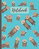 Notebook: Cute Otters Cartoon Cover - Lined Notebook, Diary, Track, Log & Journal - Gift for Boys Girls Teens Men Women (8'x10' 120 Pages)