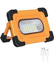 Elekin Luz de Trabajo LED Recargable 60W, 3000LM Lámpara LED para Exteriores Recargable a Prueba de Agua, Lámpara de Proyector Portátil con Batería Incorporada Lámpara de Camping 4 Modos Ajustables