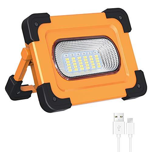 Elekin Luz de Trabajo LED Recargable 60W, 3000LM Lámpara LED para Exteriores Recargable a Prueba de Agua, Lámpara de Proyector Portátil con Batería Incorporada Lámpara de Camping 4 Modos Ajustabl