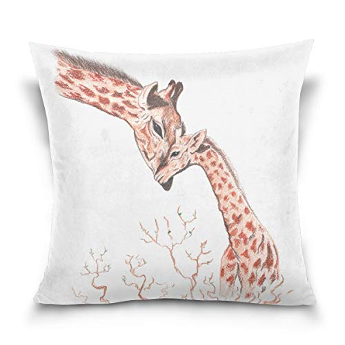 N\A Double Sided Lovely Animal Watercolor Giraffes Cotton Velvet Square Cover Cushion Covers Pillow Slip Covers Decorative