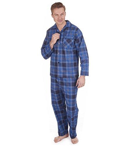 Herren Gebürstet Pure 100{f3aef2d4642d548ae688da44f9344c8b3c60fec7cd50494ac999c496cd598dd1} Baumwollschlafanzug Winter Warm Flanell Thermo M L XL XXL - marineblau/blau kariert, XXXXX-Large