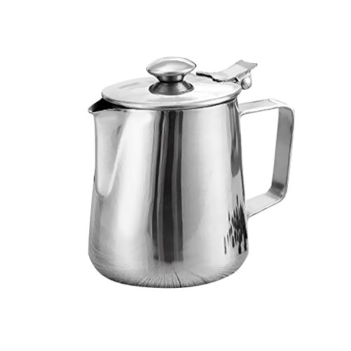 Dovewill Silver Stainless Steel Coffee Pitcher Milk Frothing Jug Bar with Lid 5 Sizes - Silver, 2L