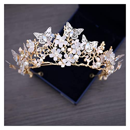 Branelli di cristallo di lusso perla di perle farfalla dei monili dei monili dei set di gioielli floreali della collana del girocollo di strass orecchini dei monili dei gioielli di Tiara DAGUAI