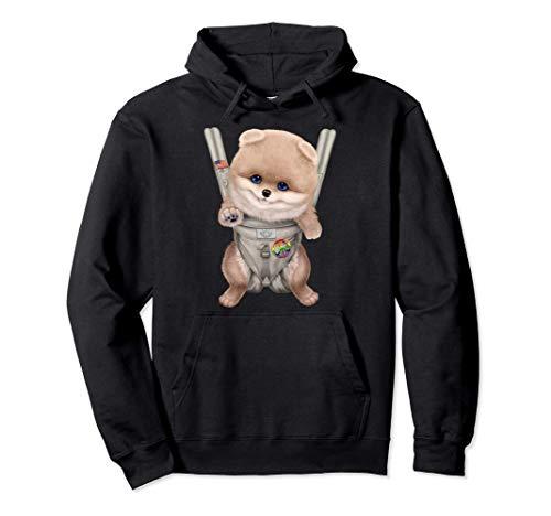 Creme Pommerscher Hund in der Babytrage Pullover Hoodie