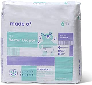 MADE OF Baby Diapers Size 6-10 Hour Absorbent Diapers, Diapers Sensitive Skin, Hypoallergenic Diapers, Unscented Diapers, Pediatrician and Dermatologist Tested, 35+ pounds (21 Count)
