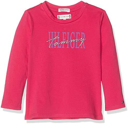 Tommy Hilfiger Baby-Mädchen Essential Graphic Tee L/S T-Shirt, Rot (Virtual Pink 638), (Herstellergröße:86)