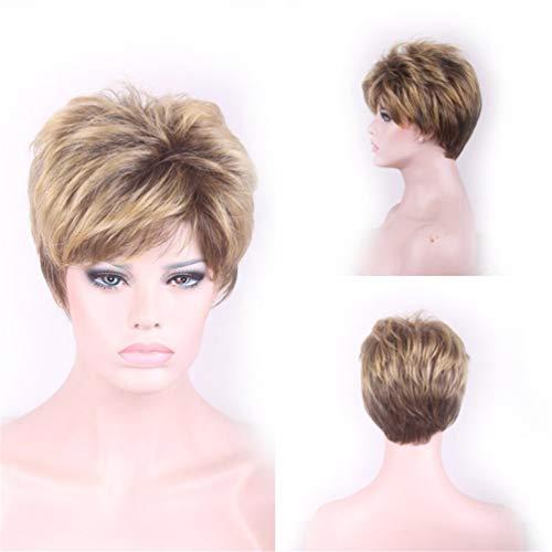 Mymgg Perruque Femme 28Cm Or Short Hair Cosplay Cadeau Coiffeur Réglable