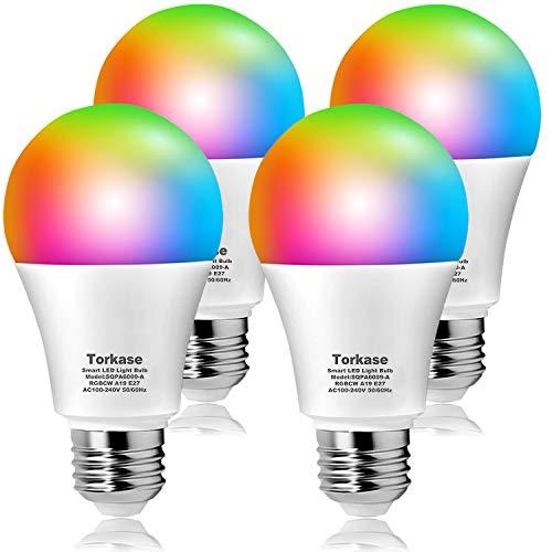 Torkase Ampoule LED intelligente Wi-Fi, dim. 2700K à 6500K, ampoules multicolores de 16 millions d'ampoules A19, E27, 9W (équivalent 80W), compatible avec Alexa, Google Home(2,4 Ghz) -Pack de 4