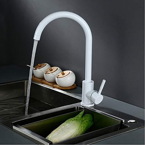 LLLYZZ Klassiek design Noord-Europa stijl witte kleur roestvrij staal keukenkraan draaibare koude- en warmwatermengkraan