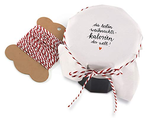 25 Marmeladendeckchen - die besten Weihnachtskalorien der Welt - Gläserdeckchen weiß für Marmelade, Marmeladengläser & Einmachgläser, Recyclingpapier Abreißblock + 10 m Garn + Justiergummi