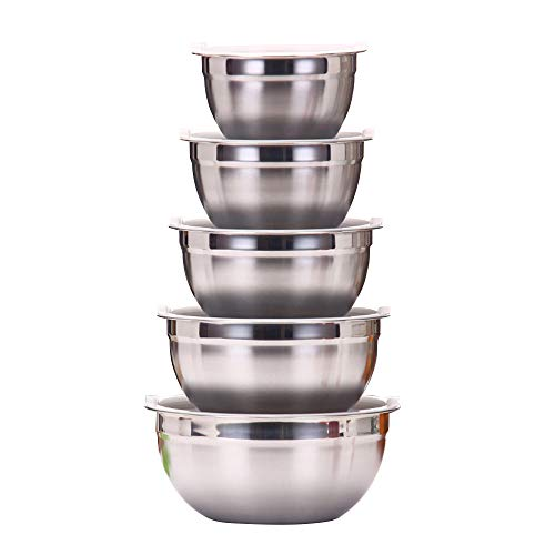WEZVIX Mixing Bowl Set of 5 with Airtight Lids, Stainless Steel Nesting Storage Bowls Easy Clean, 7-5-4-3.5-1.5 QT Great for Healthy Meal Mixing, Prepping