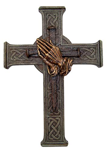Wowser Cast Resin Celtic Knot Wall Cross with Praying Hands and Nails Centerpiece, 12 Inch