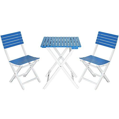 com-four® Balkon Sitzgruppe in weiß und blau, schöne Gartenmöbel aus Akazienholz (blau/weiß)