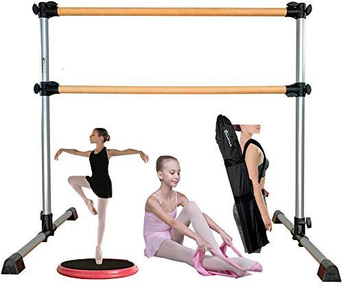Marfula Aluminum Ballet Barre Bar Portable Height Adjustable Double Freestanding Ballet Fitness Stretch/Dance Bar for Home or Studio Dancing, with Carry Bag with Carry Bag and Stretch Band