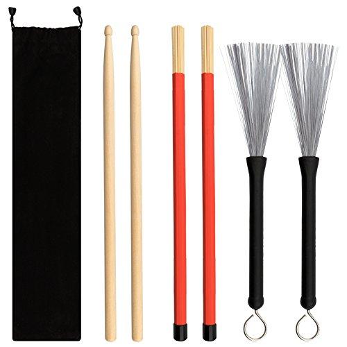Sinblue, set di spazzole per batteria, 1 paio di bacchette in legno d'acero 5A, 1 paio di spazzole retrattili per tamburo e 1 paio di bacchette, con custodia, regalo per amanti della musica jazz