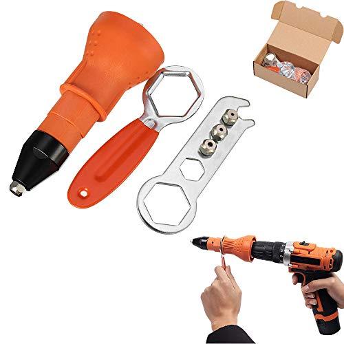 AMAZOIN Elektrische Nietpistole Rivet Tool Kit für kabellose Bohrfutter Elektrischer Adapter Insert Nut Riveter Adapter Professionelle Nietpistole mit Schraubenschlüssel und Düsen