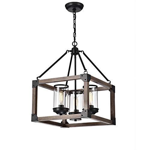 Jojospring Daniela 3-Light Antique Black Wooden Cage Glass Cylinders Cage Pendant Chandelier