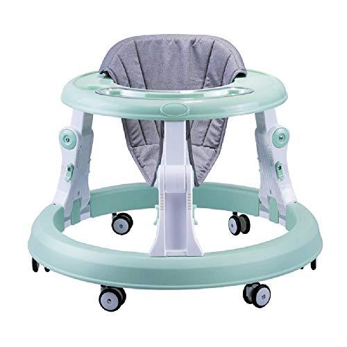 ZSCKJ Baby Walker Anti-Rollover-One-Click Folding leicht zu reinigen Höhenverstellbarer Multifunktionale Walker Walker geeignet für 7-18 Monate Baby,Green