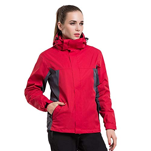 XYL HOME Outdoor kleding drie-laags lijm tweedelige jas mannen en vrouwen bergbeklimmen kleding, rood, XL