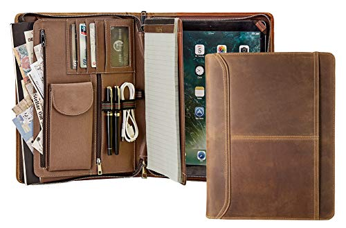 Handmade Retro Leather Portfolio, Professional Executive Padfolio Document Organizer with Letter Size/A4 Writing Pad Holder, Features Tablet Case Compatible with Surface Pro 3/4/5/6