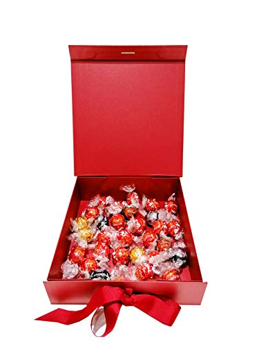 Auris 500g Red/Silver Assorted Lindt Lindor Chocolate Hamper Gift Box with White and Dark Chocolate, Milk Chocolate and Milk Hazelnut Chocolate Truffles