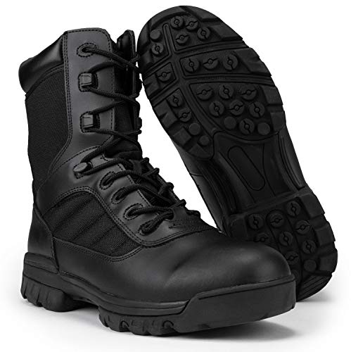 """RYNO GEAR 8"""" Men's Black Tactical Combat Boots with Coolmax Lining (8.0, 8)"""