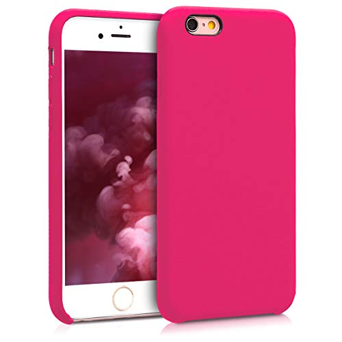 kwmobile Hülle kompatibel mit Apple iPhone 6 / 6S - Handyhülle gummiert - Handy Case in Neon Pink