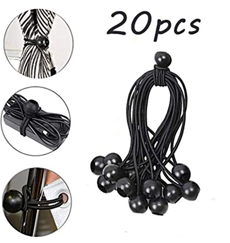 Mzthkly Multi Purpose Black Round Head Elastic Rope, Professional Bungee Cords Ball, Tarpaulin Straps, Tent Fix Cords Tarp Awning Banner Pavilions Accessory (20pcs)