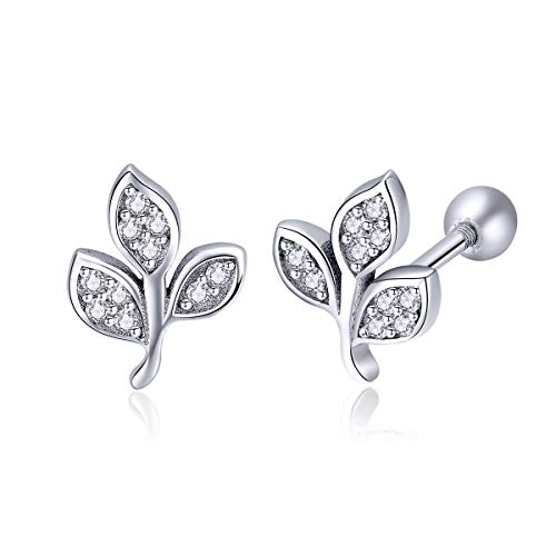 Leaf Cartilage CZ Stud Earrings Fashion 925 Sterling Silver Cubic Zirconia Helix Tragus Barbell Piercing Srewback Studs Jewelry 20G for Women Girls