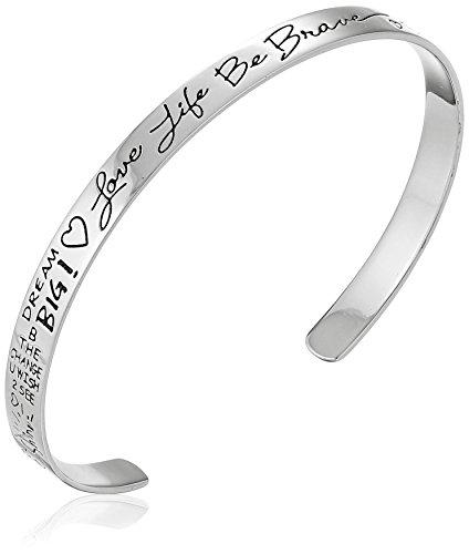 Sterling Silver 'Love Life Be Brave' Cuff Bracelet, 6'