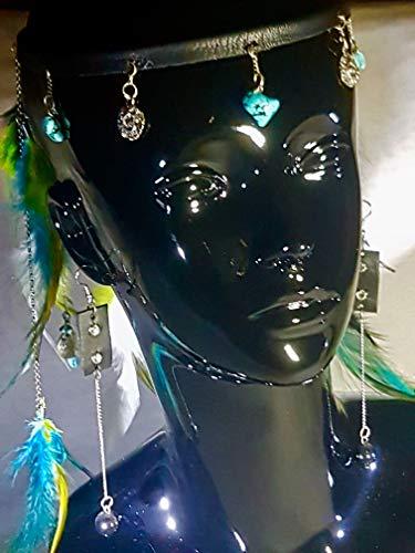 Pendientes largos de piel negro con cadenas y piedras ónix.