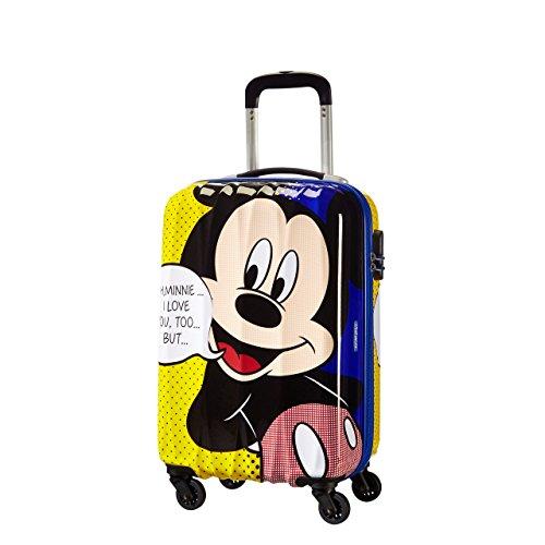 American Tourister by Samsonite Disney Edition Spinner Set di 3trolley (S M L) con valigetta ciondolo nero Mickey Mouse S M L