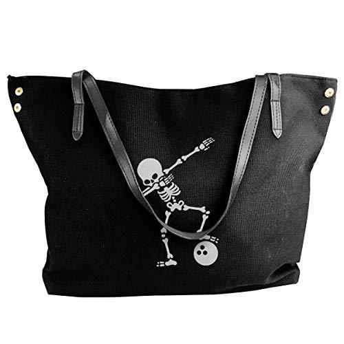 tiao9143 Damenhandtaschen,Damen-Schultertaschen Women's Canvas Large Tote Shoulder Handbag Dab Skeleton Dabbing Bowling Ball Hand Bag Classic purse shopping Sling Bag