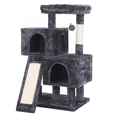 BEWISHOME Cat Tree Condo with Sisal Scratching Posts, Scratching Board, Plush Perch and Dual Houses, Cat Tower Furniture Kitty Activity Center Kitten Play House, Grey MMJ10B